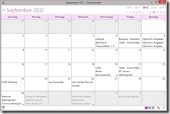 Der OneCalendar bietet eine anpassbare Kalenderübersicht mit allen am jeweiligen Tag aufgenommenen oder geänderten Notizen.