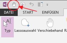 Ein Shortcut zur Verschiebehand in der Schnellstartleiste gibt dieser Funktion ein Tastenkürzel.
