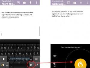 Swype-Keyboard: DIe alternative Bildschirmtastatur enthält auch eine eigene Spracherkennung vom Diktiersoftware-Experten Nuance.