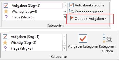 Da fehlt was: Bei näherem Hinsehen vermisst man im Gratis-OneNote (unten) die Outlook-Funktionen wie die zusätzliche Aufgabenkategorie.