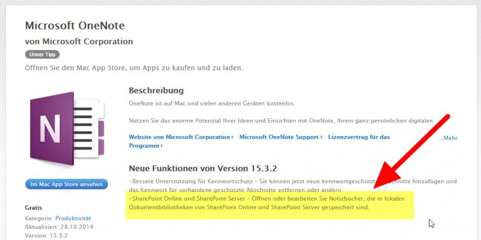 App-Store: In der Beschreibung des Updates im Mac-App-Store wird der Sharepoint-Zugriff als Feature hervorgehoben, der Office-365-Zwang indes gänzlich verschwiegen.