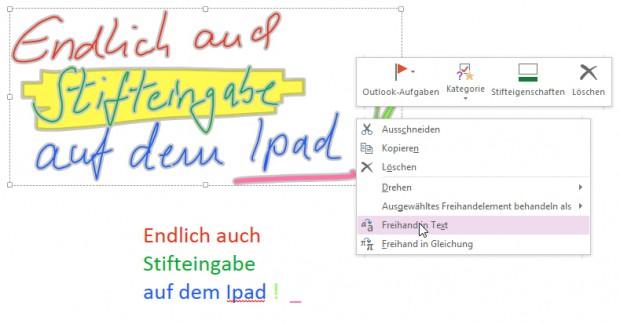 Nach einmaligem Öffnen in OneNote für Windows (auch das kostenlose OneNote 2013) ist die Handschrift indiziert und lässt sich auch auf dem iPad umwandeln oder durchsuchen.
