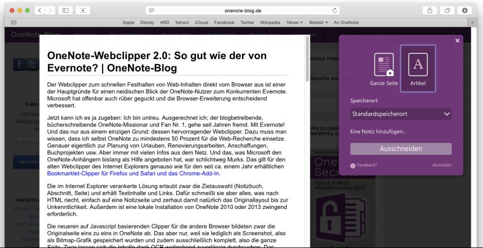 Im Gegensatz zur Chrome-Version lassen sich keine Webseiten-Ausschnitte speichern. Komplette Seiten oder bereinigte Artikel funktionieren aber.
