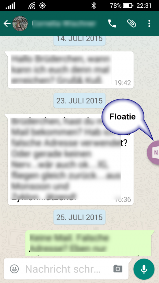 Floatie versteckt sich dezent am Bildschirmrand, wenn nicht gebraucht. In jeder  App (hier z.B. WhatsApp).