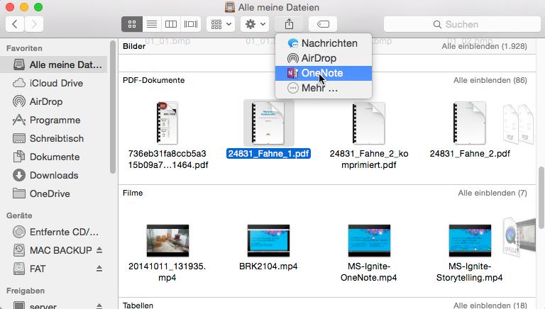 Alle Anwendungen mit Freigabe-Menü erlauben nun auch OneNote als Ziel. So lassen sich mit dem Finder Dateien an eine Notiz senden....