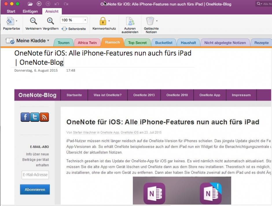 """...wobei allerdings nur kojplette Webseiten als Screenshot in der Notiz landen. Die """"Artikel-Bereinigung"""" des Webclippers fehlt (mit der """"Reader""""-Darstellung von Safari klappt's leider nicht)."""