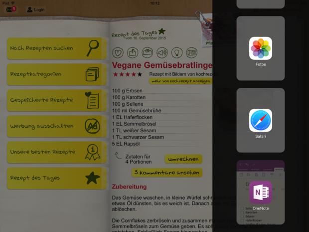 OneNote ist eine der ersten  Nicht-Apple-Apps, die die duale Darstellung (Slide Over, Split View) erlauben.