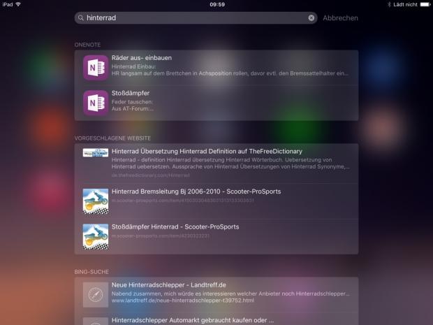 Die Spotlight-Suche indexiert in iOS 9 wesentlich mehr App-Inhalte, auch die von OneNote-Notizen.