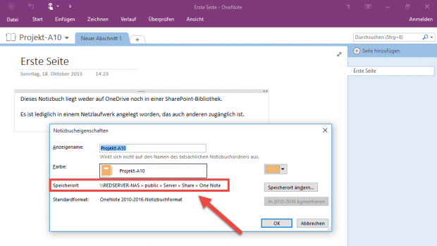 Die Notizbuch-Eigenschaften verraten den genauen Speicherort, egal ob auf OneDrive, einer lokalen Platte oder – wie hier im Bild – einem Netzwerk-Pfad.