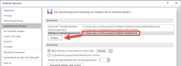 In den OneNote-Optionen können Sie den Standardspeicherort für Notizbücher ändern, zum Beispiel auf ein Netzwerkverzeichnis.