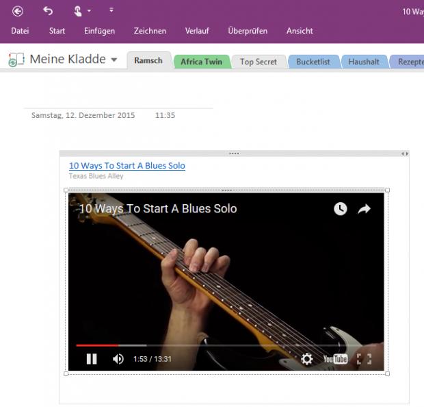 Beim Überfahren mit der Maus erscheinen im Vorschaubild die jeweiligen Bedienelemente, etwa von YouTube.