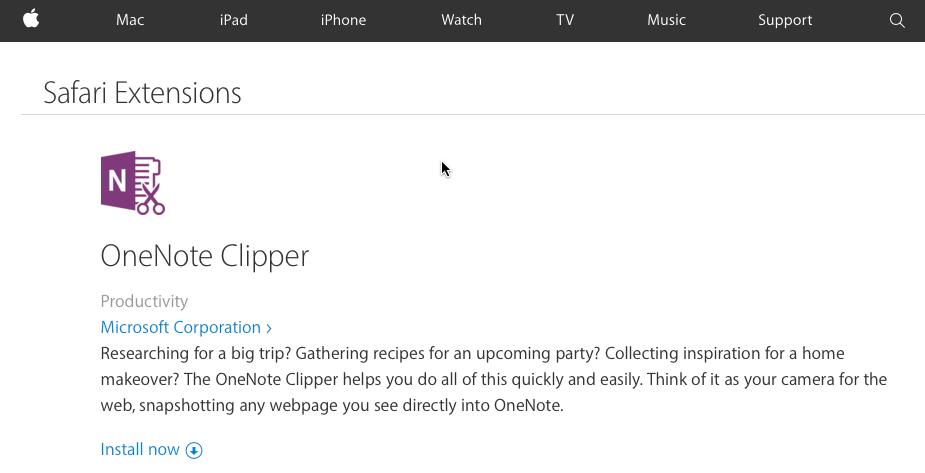...dann geht's erst mal in das Apple-eigene Add-on-Verzeichnis, von wo aus Sie den Clipper im Browser installieren.