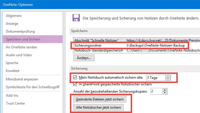 Der eingebaute Backup-Mechanismus von OneNote 2013/2016 sichert Notizbücher automatisch in einstellbaren Zeitabständen in einen wählbaren Ordner.