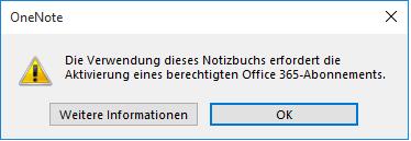 Reingefallen: Das verlockende Update von einem älteren Office-OneNote auf das kostenlose 2016 beraubt Sie der Möglichkeit, lokale Notizbücher zu öffnen. Die zugehörige Fehlermeldung ist ... nun ja .. unpräzise.