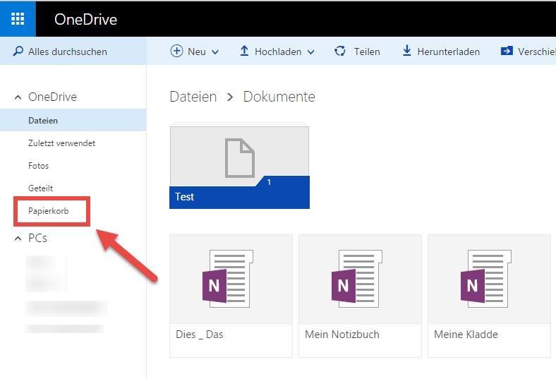 In der Weboberfläche von OneDrive lassen sich OneNote-Notizbücher ganz einfach über das Symbol identifizieren. Hier haben SIe auch Zugriff auf den Papierkorb.