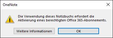 Der Versuch, eine ONEPKG-Datei im Gratis-OneNote zu öffnen, führt nur zu dieser Fehlermeldung. Dasselbe gilt für ONE-Dateien innerhalb einer Notizbuch-Struktur, also mit vorhandener ONETOC2-Indexdatei.