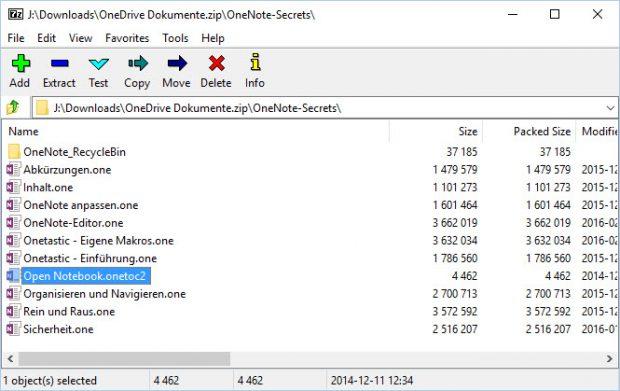 Diese ZIP-Datei können Sie nun einfach komplett archivieren (also z.B. auf eine externe Platte kopieren) oder sie zunächst auspacken. Sie enthält neben möglicherweise sonstigen Dateien aus dem OneDrive-Ordner auch die OneNote-Notizbücher, und zwar in der für das Desktop-OneNote üblichen Form: Notizbücher als Ordner, Abschnittsgruppen als Unterordner, Abschnitte als .ONE-Dateien und eine Index-Datei mit der Endung .ONETOC2.