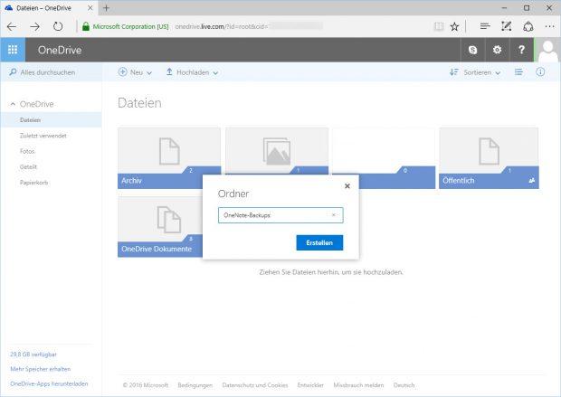 """Legen Sie zunächst per Browser-Oberfläche von OneDrive einen zusätzlichen Ordner an. Den nennen Sie z.B. """"OneNote-Backups""""."""